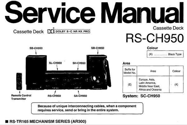 TECHNICS RS-CH950 STEREO CASSETTE TAPE DECK SERVICE MANUAL