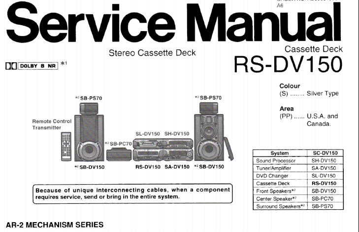 TECHNICS RS-DV150 STEREO CASSETTE TAPE DECK SERVICE MANUAL