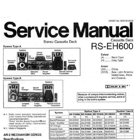 TECHNICS RS-EH600 STEREO CASSETTE TAPE DECK SERVICE MANUAL