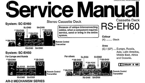 TECHNICS RS-EH60 STEREO CASSETTE TAPE DECK SERVICE MANUAL