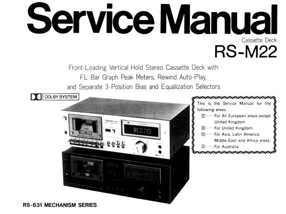 technics rs m22 stereo cassette tape deck service manual. Black Bedroom Furniture Sets. Home Design Ideas