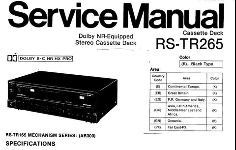technics rs tr265 stereo cassette tape deck service manual. Black Bedroom Furniture Sets. Home Design Ideas