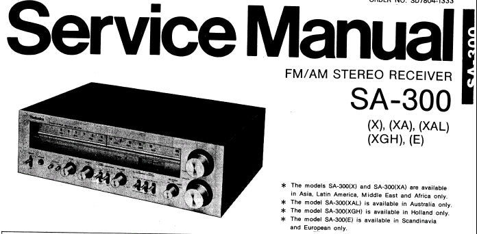 TECHNICS SA-300 FM AM STEREO RECEIVER SERVICE MANUAL INC BLK DIAG SCHEM  DIAG PCB'S AND PARTS LIST 27 PAGES ENG