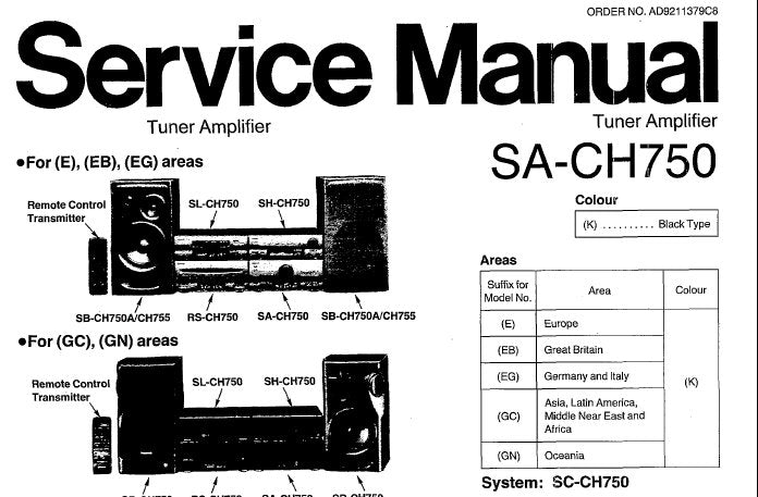 TECHNICS SA-CH750 STEREO TUNER AMPLIFIER SERVICE MANUAL