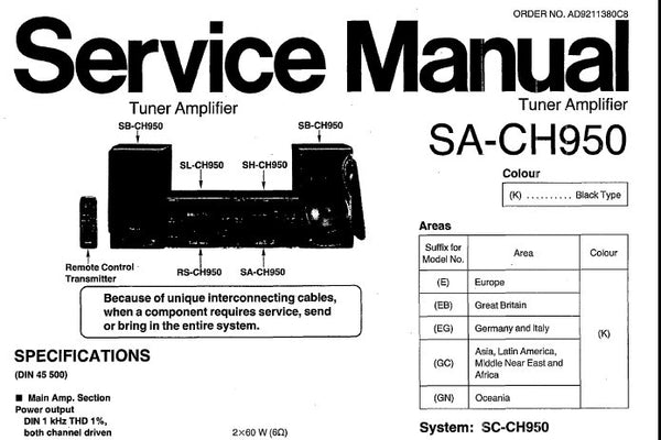 TECHNICS SA-CH950 STEREO TUNER AMPLIFIER SERVICE MANUAL