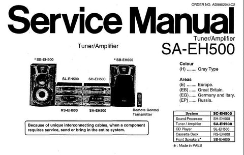 TECHNICS SA-EH500 STEREO TUNER AMPLIFIER SERVICE MANUAL INC CONN DIAGS BLK DIAG WIRING CONN DIAG SCHEM DIAGS PCB'S PARTS LIST 48 PAGES ENG