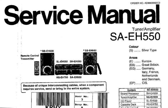 TECHNICS SA-EH550 STEREO TUNER AMPLIFIER SERVICE MANUAL
