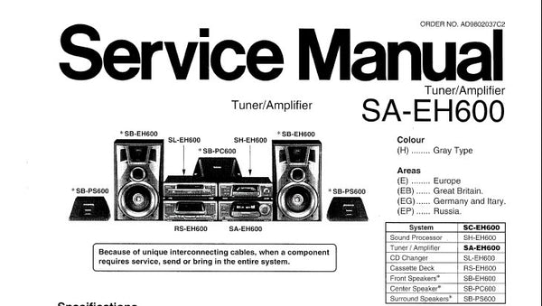 Technics sh-eh600 original sound processor service manual/diagram.