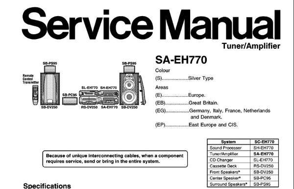 TECHNICS SA-EH770 STEREO TUNER AMPLIFIER SERVICE MANUAL INC BLK DIAG WIRING  CONN DIAG SCHEM DIAGS PCB'S AND PARTS LIST 37 PAGES ENG