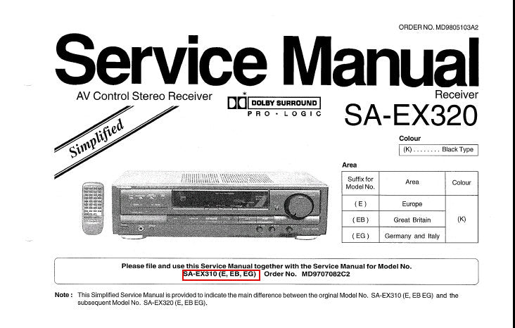 TECHNICS SA-EX320 AV CONTROL STEREO RECEIVER SERVICE MANUAL INC SCHEM DIAGS  PCB'S AND PARTS LIST 22 PAGES ENG