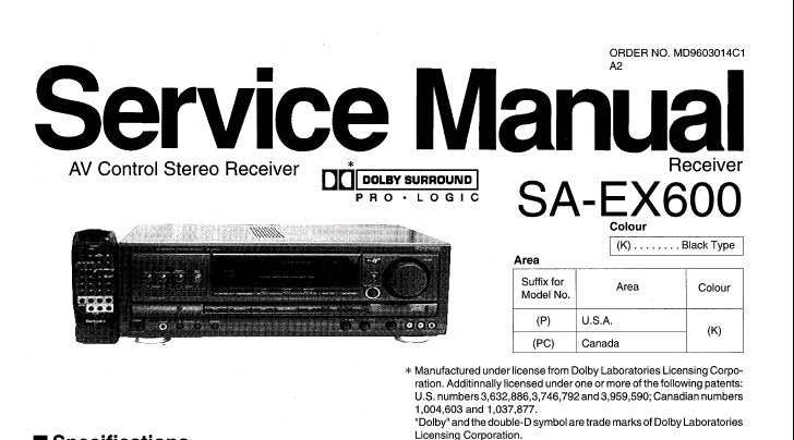 TECHNICS SA-EX600 AV CONTROL STEREO RECEIVER SERVICE MANUAL INC TRSHOOT  GUIDE BLK DIAG SCHEM DIAGS PCB'S AND PARTS LIST 52 PAGES ENG