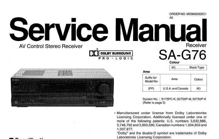 TECHNICS SA-G76 AV CONTROL STEREO RECEIVER SERVICE MANUAL INC TRSHOOT GUIDE  BLK DIAG WIRING CONN DIAG SCHEM DIAGS PCB'S AND PARTS LIST 47 PAGES ENG