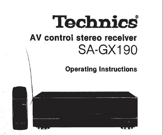 TECHNICS SA-GX190 AV CONTROL STEREO RECEIVER OPERATING