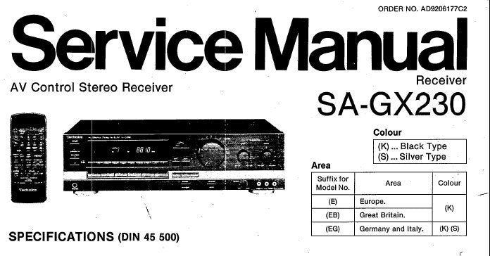 Technics Stereo Receiver Manuals