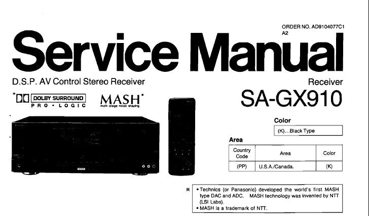 TECHNICS SA-GX910 DSP AV CONTROL STEREO RECEIVER SERVICE MANUAL INC CONN  DIAGS BLK DIAG WIRING CONN DIAG SCHEM DIAG PCB'S AND PARTS LIST 68 PAGES ENG