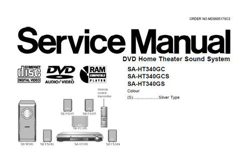 TECHNICS SA-HT340GC SA-HT340GCS SA-HT340GS DVD HOME THEATER SOUND SYSTEM SERVICE MANUAL INC WIRING CONN DIAG BLK DIAG SCHEM DIAG PCB'S TRSHOOT GUIDE OVERALL BLK DIAGS AND PARTS LIST 98 PAGES ENG