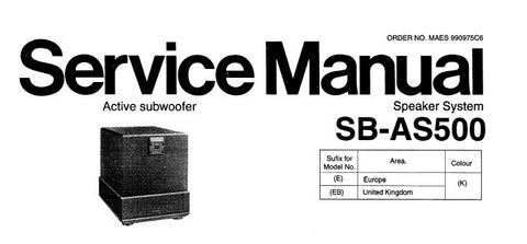 TECHNICS SB-AS500 ACTIVE SUBWOOFER SPEAKER SYSTEM SERVICE MANUAL INC CONN DIAG PCB'S WIRING CONN DIAG SCHEM DIAGS AND PARTS LIST 20 PAGES ENG