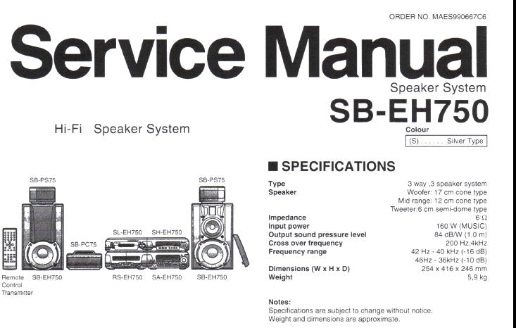 TECHNICS SB-EH750 HIFI SPEAKER SYSTEM SERVICE MANUAL INC
