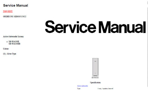 TECHNICS SB-WA330E SB-WA330EB ACTIVE SUBWOOFER SYSTEM SERVICE MANUAL INC SCHEM DIAGS PCB'S AND PARTS LIST 58 PAGES ENG