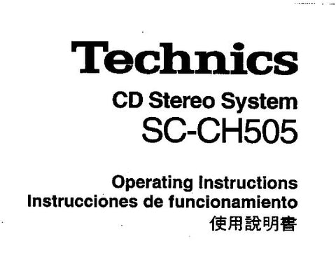 TECHNICS SC-CH505 CD STEREO SYSTEM OPERATING INSTRUCTIONS INC CONN DIAGS AND TRSHOOT GUIDE 83 PAGES ENG