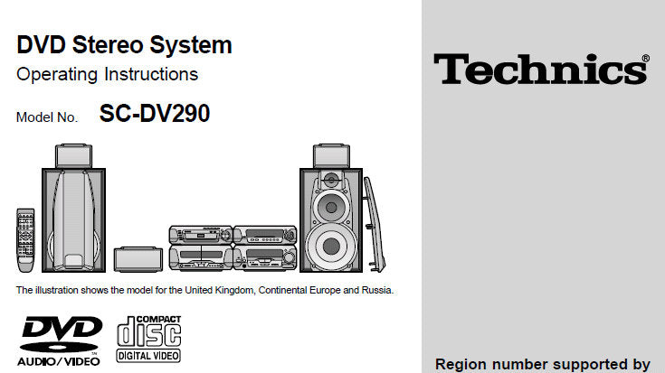 TECHNICS SC-DV290 DVD STEREO SYSTEM OPERATING INSTRUCTIONS
