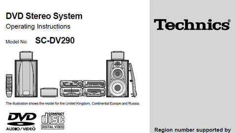 TECHNICS SC-DV290 DVD STEREO SYSTEM OPERATING INSTRUCTIONS INC CONN DIAGS AND TRSHOOT GUIDE 52 PAGES ENG