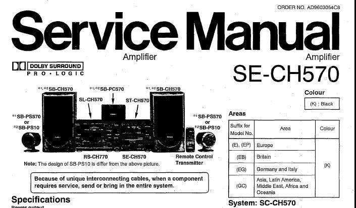 TECHNICS SE-CH570 STEREO AMPLIFIER SERVICE MANUAL INC CONN DIAGS SCHEM  DIAGS PCB'S WIRING CONN DIAG BLK DIAG AND PARTS LIST 35 PAGES ENG