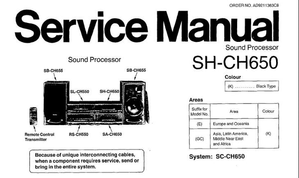 TECHNICS SH-CH650 SOUND PROCESSOR SERVICE MANUAL INC SCHEM