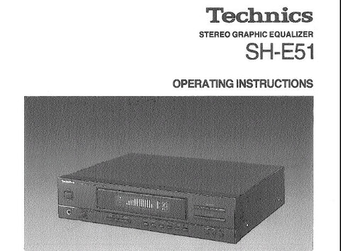 TECHNICS SH-E51 STEREO GRAPHIC EQUALIZER OPERATING INSTRUCTIONS INC CONN DIAGS AND TRSHOOT GUIDE 12 PAGES ENG