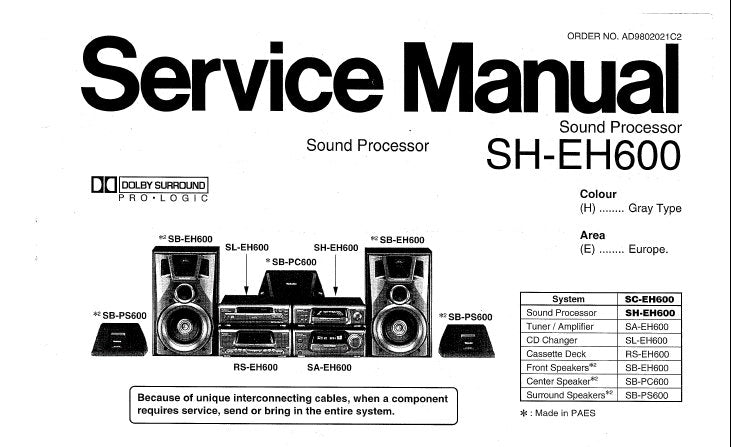 Technics sa-eh600 original tuner/amplifier service manual/diagram.