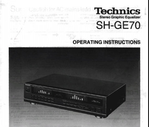 TECHNICS SH-GE70 STEREO GRAPHIC EQUALIZER OPERATING INSTRUCTIONS INC CONN DIAGS AND TRSHOOT GUIDE 12 PAGES ENG