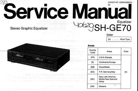 TECHNICS SH-GE70 STEREO GRAPHIC EQUALIZER SERVICE MANUAL INCCONN DIAGS  SCHEM DIAG PCB'S WIRING CONN DIAG BLK DIAG AND PARTS LIST 14 PAGES ENG