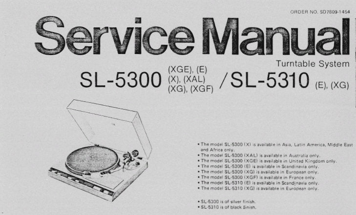 TECHNICS SL-5300 SL-5310 TURNTABLE SYSTEM SERVICE MANUAL INC SCHEM DIAG PCB'S TRSHOOT GUIDE AND PARTS LIST 19 PAGES ENG
