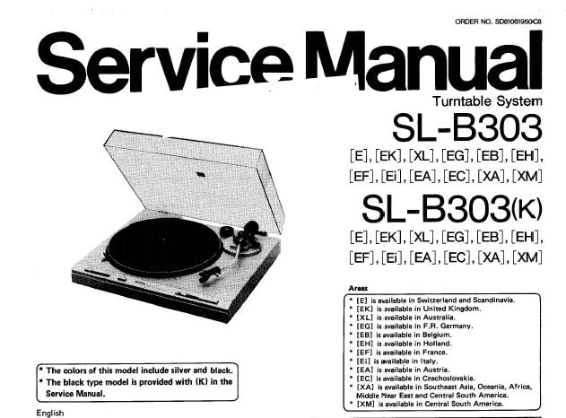 TECHNICS SL-B303 SL-B303(K) TURNTABLE SYSTEM SERVICE MANUAL INC BLK DIAG SCHEM DIAG PCB'S AND PARTS LIST 16 PAGES ENG DEUT FRANC ESP