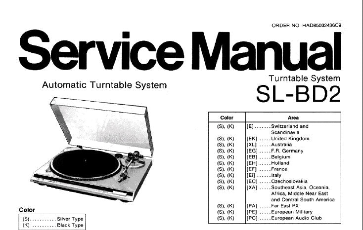 TECHNICS SL-BD2 AUTOMATIC TURNTABLE SYSTEM SERVICE MANUAL INC BLK DIAG SCHEM DIAG PCB'S AND PARTS LIST 14 PAGES ENG