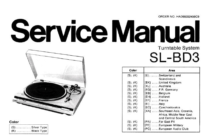 TECHNICS SL-BD3 TURNTABLE SYSTEM SERVICE MANUAL INC TRSHOOT GUIDE BLK DIAG  SCHEM DIAG PCB'S AND PARTS LIST 16 PAGES ENG