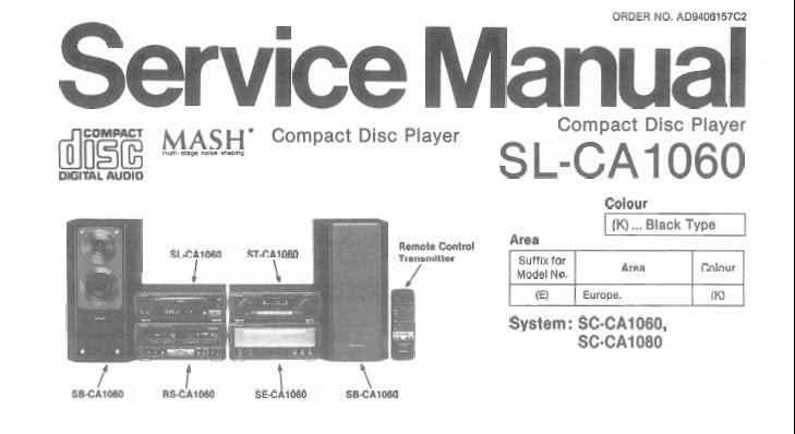 TECHNICS SL-CA1060 CD PLAYER SERVICE MANUAL INC TRSHOOT GUIDE BLK DIAG SCHEM DIAG PCB'S AND PARTS LIST 26 PAGES ENG