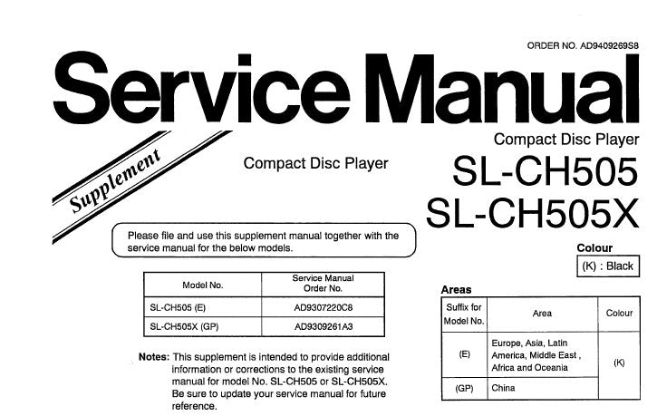 TECHNICS SL-CH50X SL-CH505 CD PLAYER SERVICE MANUAL SUPP INC SCHEM DIAG PCB AND PARTS LIST 6 PAGES ENG