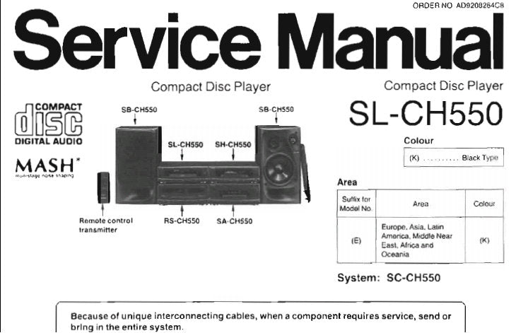 TECHNICS SL-CH550 CD PLAYER SERVICE MANUAL INC SCHEM DIAGS PCB'S WIRING CONN DIAG TRSHOOT GUIDE BLK DIAG AND PARTS LIST 20 PAGES ENG
