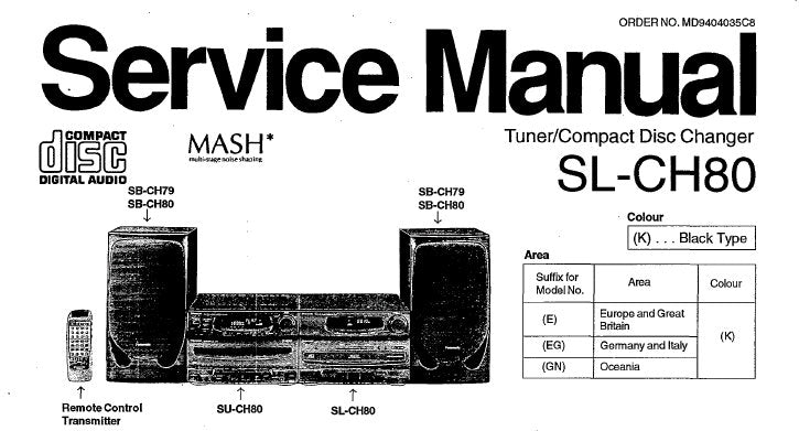 TECHNICS SL-CH80 TUNER CD CHANGER SERVICE MANUAL INC SCHEM DIAGS PCB'S BLK DIAG WIRING CONN DIAG TRSHOOT GUIDE AND PARTS LIST 46 PAGES ENG