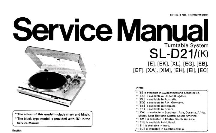 TECHNICS SL-D21 SL-D21(K) TURNTABLE SYSTEM SERVICE MANUAL INC PCB'S WIRING CONN DIAG BLK DIAG SCHEM DIAG AND PARTS LIST 16 PAGES ENG DEUT FRANC ESP