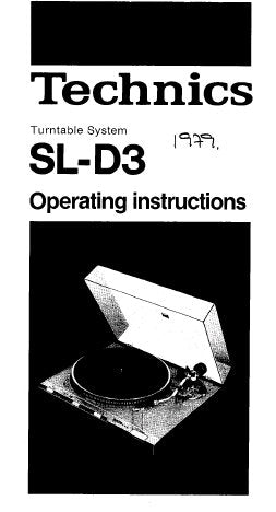 TECHNICS SL-D3 SL-Q210 TURNTABLE SYSTEM OPERATING INSTRUCTIONS 16 PAGES ENG