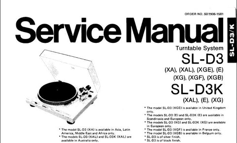 TECHNICS SL-D3 SL-D3K TURNTABLE SYSTEM SERVICE MANUAL INC