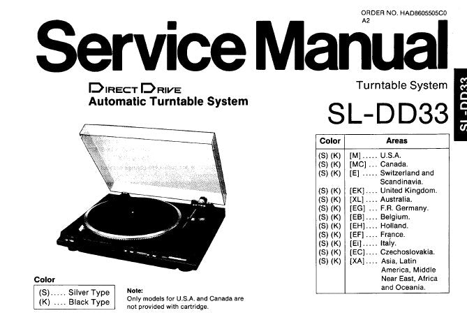 TECHNICS SL-DD33 DIRECT DRIVE AUTOMATIC TURNTABLE SYSTEM SERVICE MANUAL INC PCB'S SCHEM DIAG BLK DIAG AND PARTS LIST 11 PAGES ENG