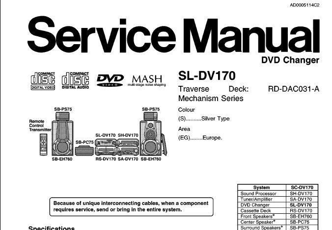 TECHNICS SL-DV170 DVD CHANGER SERVICE MANUAL INC SCHEM DIAGS PCB'S WIRING CONN DIAG BLK DIAG AND PARTS LIST 62 PAGES ENG