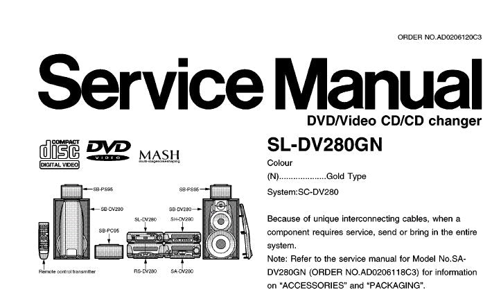 TECHNICS SL-DV280GN DVD VIDEO CD CD CHANGER SERVICE MANUAL INC BLK DIAG SCHEM DIAGS PCB'S WIRING CONN DIAG AND PARTS LIST 75 PAGES ENG