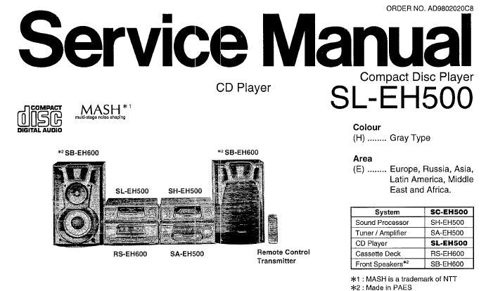 TECHNICS SL-EH500 CD PLAYER SERVICE MANUAL INC SCHEM DIAGS PCB'S WIRING CONN DIAG BLK DIAG TRSHOOT GUIDE AND PARTS LIST 32 PAGES ENG
