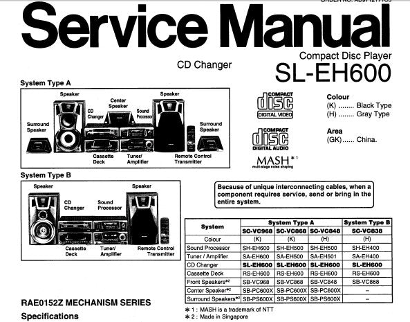 TECHNICS SL-EH600 CD PLAYER CD CHANGER SERVICE MANUAL INC SCHEM DIAGS PCB'S WIRING CONN DIAG BLK DIAG AND PARTS LIST 57 PAGES ENG