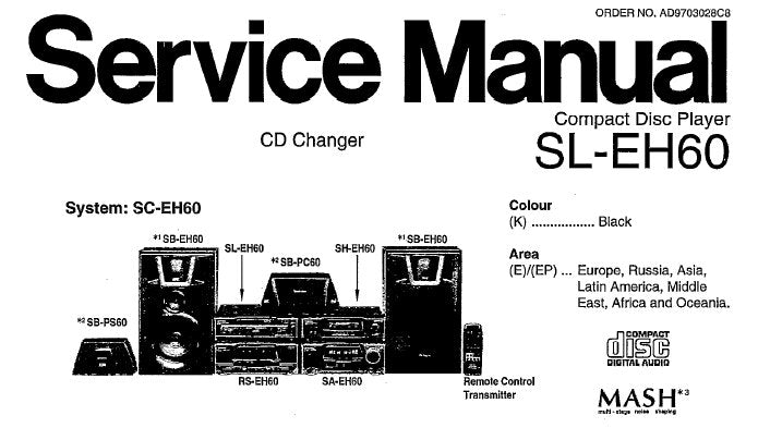 TECHNICS SL-EH60 CD PLAYER SERVICE MANUAL INC SCHEM DIAGS PCB'S WIRING CONN DIAG TRSHOOT GUIDE BLK DIAG AND PARTS LIST 42 PAGES ENG