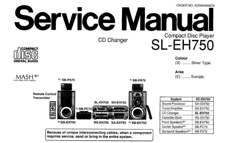 TECHNICS SL-EH750 CD PLAYER CD CHANGER SERVICE MANUAL INC SCHEM DIAGS PCB'S WIRING CONN DIAG TRSHOOT GUIDE BLK DIAG AND PARTS LIST 57 PAGES ENG